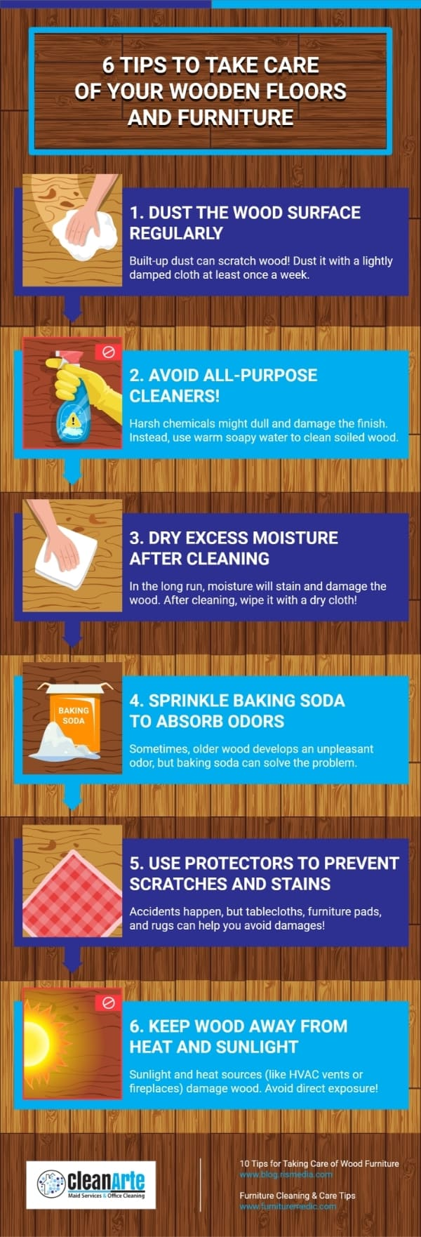 CleanArte Maid Services - 6 Tips To Take Care Of Your Wooden Floors And Furniture